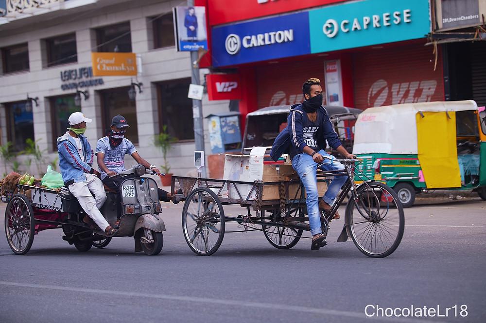 mobile vegetable shoppe on M I road jaipur during pendemic  modified lockdown