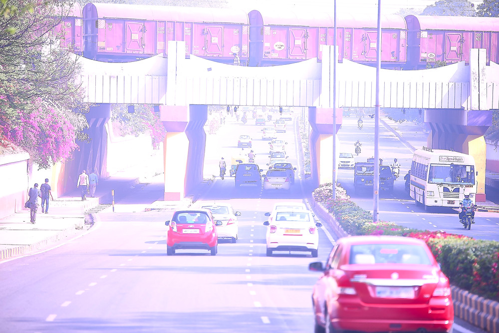 New delhi underpass bridge train running over