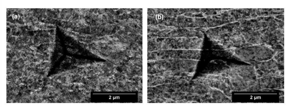 ECCI and BSE imaging of (a) pressure tube 1, and (b) pressure tube 2 in the axial normal cross-sections.