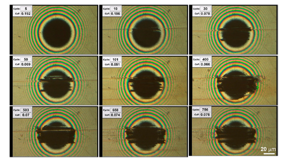 In situ contact images recorded from sapphire−pristine H-DLC sliding contact.