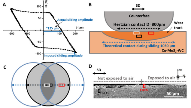 (A) A typical sliding loop where the imposed and actual sliding amplitude are indicated; (B) a schematic of theoretical contact; (C) the top view of the Hertzian contact and sliding, as well as locations of the TEM foils; (D) locations of the three TEM foils marked from the actual SD-ND cross-sectional micrograph.