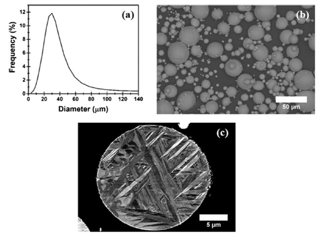 The (a) powder size distribution, (b) powder morphology and (c) microstructure of the Ti powder