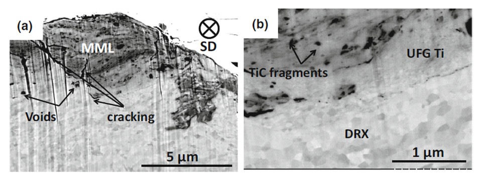 BSE micrographs (5 kV) of a Cross sections of the near-surface microstructures after 1000 sliding cycles for Ti–13.8TiC, b high magnification view of a.