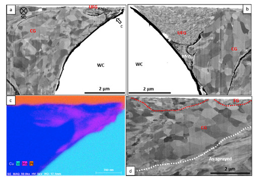 Subsurface micrographs of the Cu- MoS2-WC wear track at 100 cycles. (a) (b): microstructure around a WC particle; (c) an EDX map of the area indicated in (a); (d) microstructure that is far from the WC particles.
