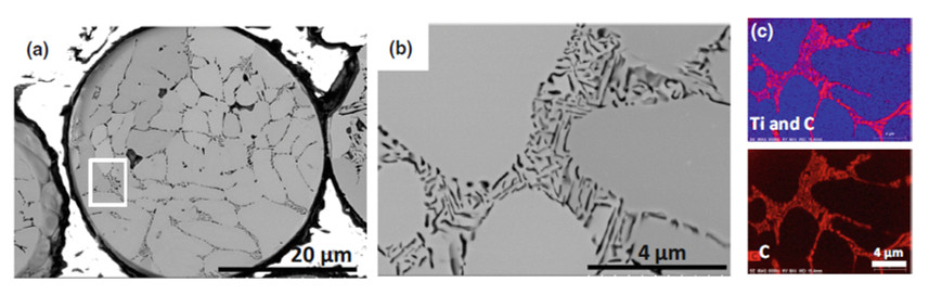 BSE micrographs of a Microstructure of TiC powder cross section, and EDX map of the distribution of carbon and Ti.