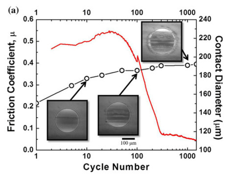 Friction, contact diameter, and in situ images for sapphire sliding versus a nanocrystalline diamond coating.