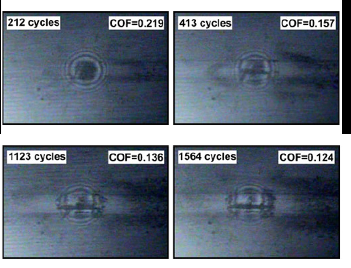 Still images from the in situ video made for the test performed in an atmosphere with 35–45% RH after different number of cycles