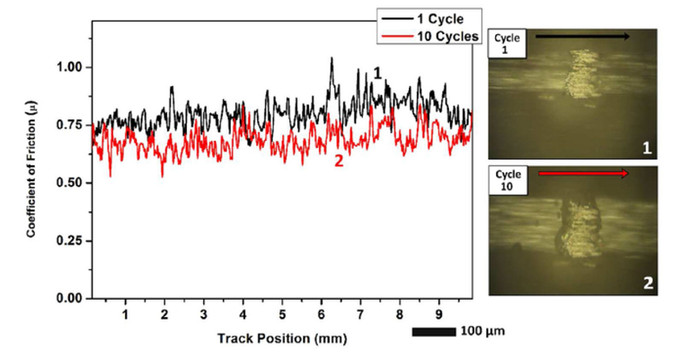 Coefficient of friction versus track position with in situ image at 1 and 10 cycles.