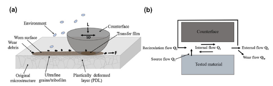 (a) Schematic illustration of a counterface sliding on a coarse-grained metallic material with the wear surface in contact with the transfer film on the counterface ball. (b) Tribological circuit depicts third body dynamics in the contact.