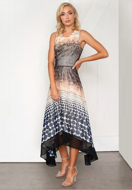 Printed Hi/Lo Hem A-Line Cocktail Dress - Style V535