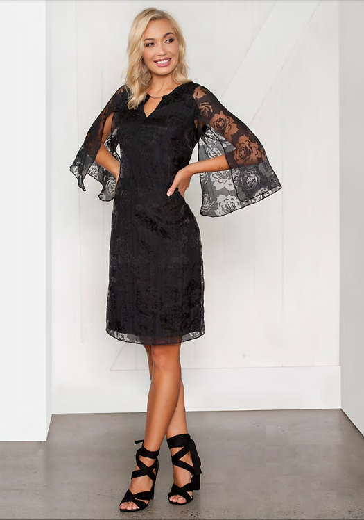 Split Sleeve Lace Cocktail Dress - Style V507