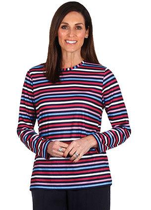 Cotton Stripe Round Neck Top - Style 2035