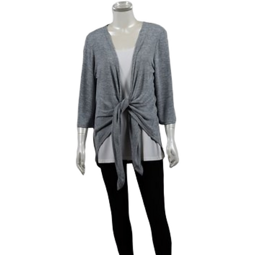 Tie Front Knit 3/4 Sleeve Cardi - Style 1889
