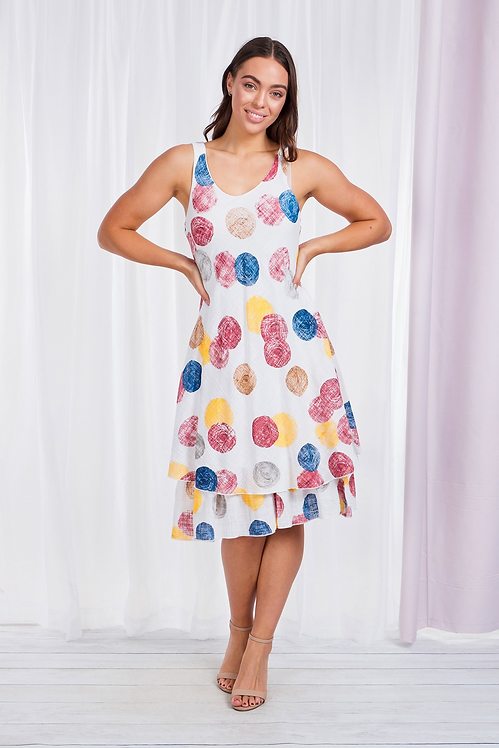 Cotton Dot Layer Hem Sleeveless Dress - Style D507202