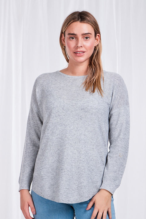 Curved Hem Long Sleeved Knit Top - Style KP505946