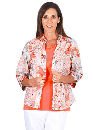 3/4 Length Sleeved Coral Print Shirt - Style 5739