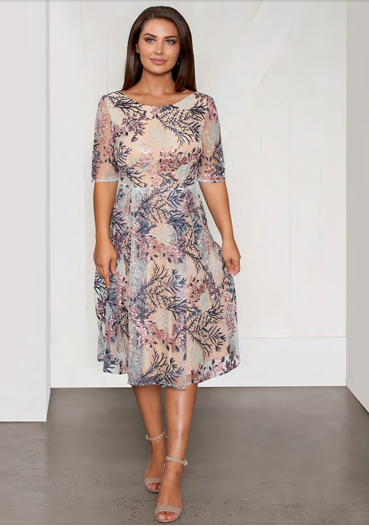 Embroidered Mid Sleeved Cocktail Dress - Style V522