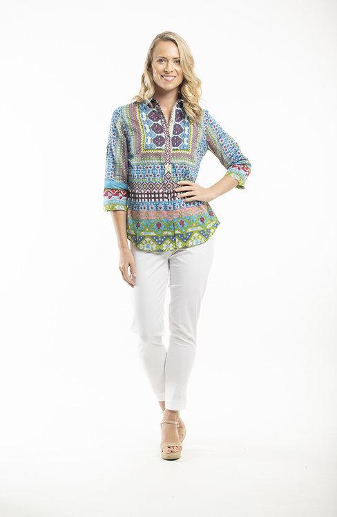 PERISSA 100% Cotton 3/4 Sleeve Print Shirt - Style 62357