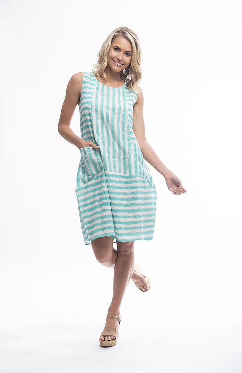 STRIPE 100% Cotton Sleeveless Dress - Style 3005