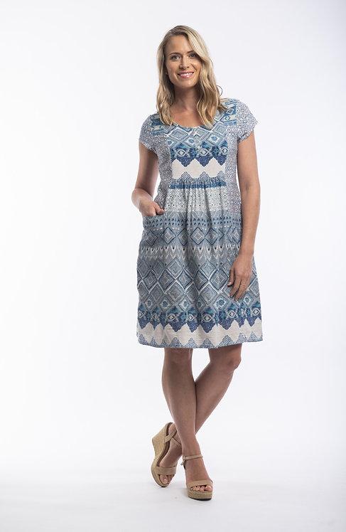 LEON Short Sleeve Print Pocket Dress - Style 71266