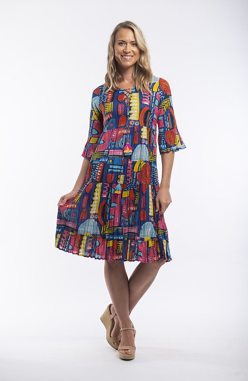 CATALONIA 100% Cotton 3/4 Sleeved Dress - Style 61415