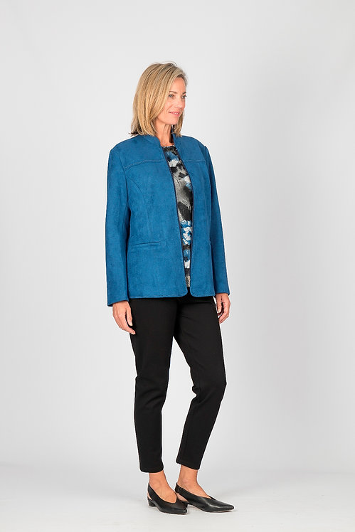 Long Sleeved Suede Zip Jacket with Pockets - Style 0107