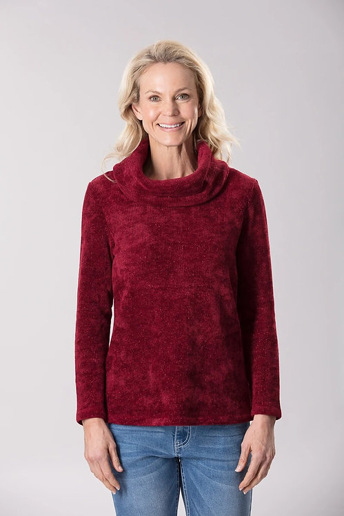 Lurex Long Sleeves Cowl Neck Top - Style 18647