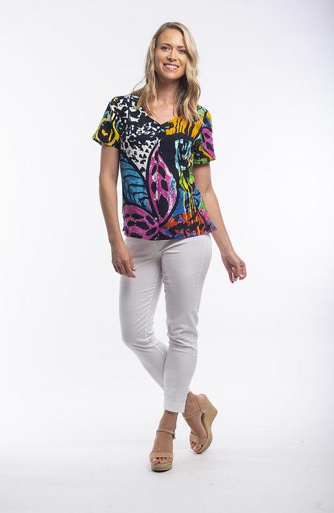 CORDOBA Short Sleeve Print Top - Style 22700