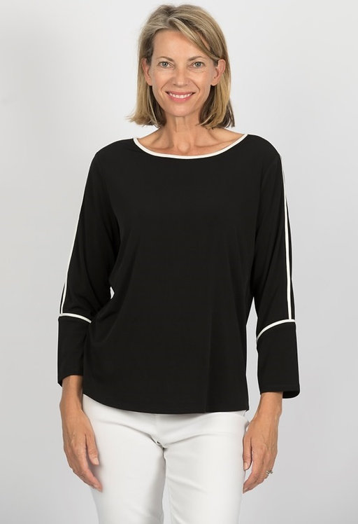 3/4 Sleeve Trim Detailed Top - Style S902