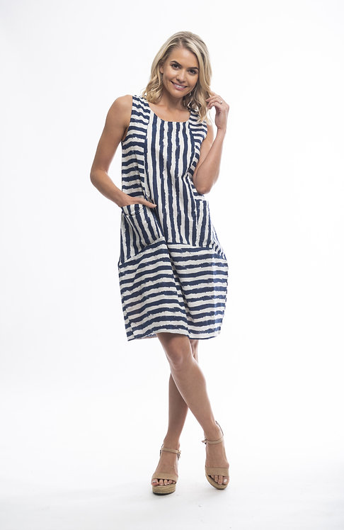 STRIPE 100% Cotton Sleeveless Dress - Style 3005