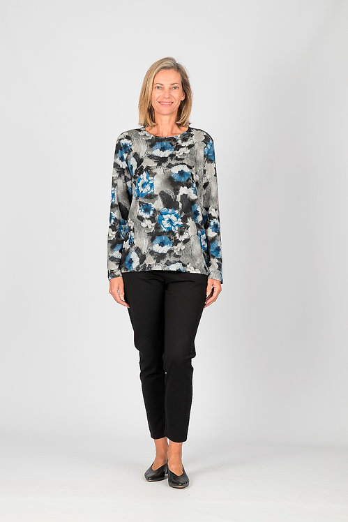 Crew Neck Patterned Long Sleeved Top - Style 0604.24