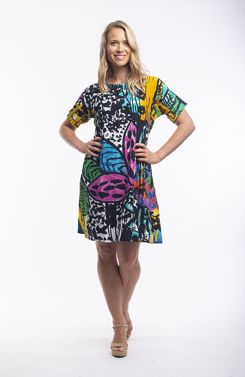 CORDOBA 100% Rayon Short Sleeved Dress - Style 21395