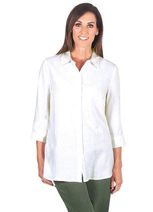 3/4 Sleeved Linen Blend Shirt  - Style 2064