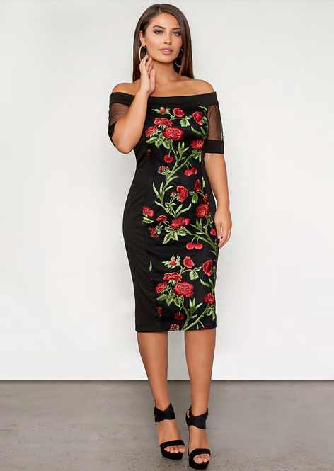 Off the Shoulder Rose Embroidered Dress - Style V514