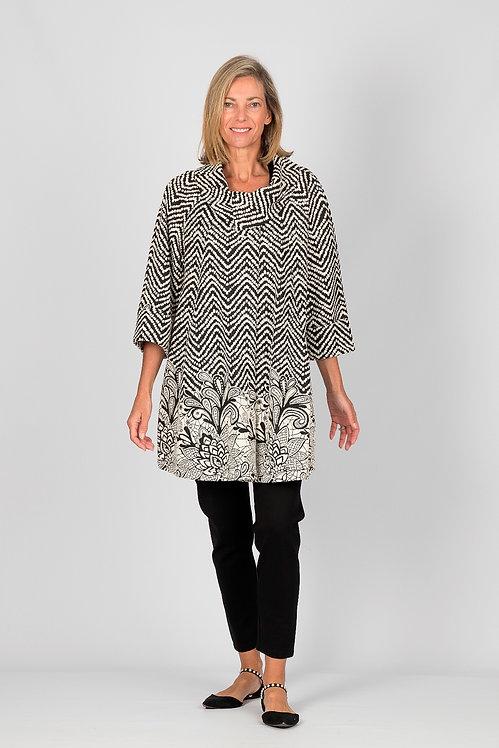 Border Design Mid Sleeved Coat - Style W015.130