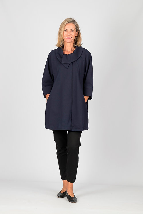 Cross Over Collared Coat - Style W015.160