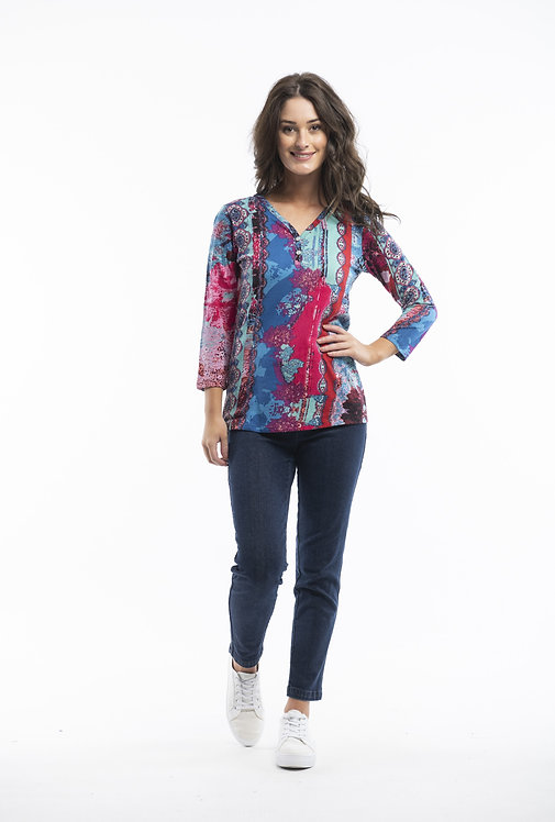 3/4 Sleeved 100% Cotton Top - Style 22714