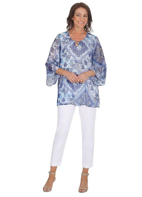 LILAC Print 3/4 Sleeved Top - Style 5585