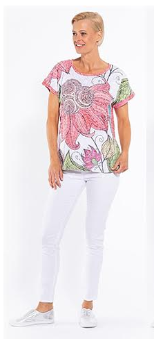 BURNOUT Print Short Sleeved Top - Style CLM184