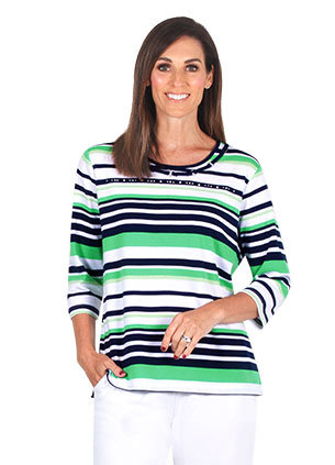 STRIPE 3/4 Sleeved Top - Style 2084