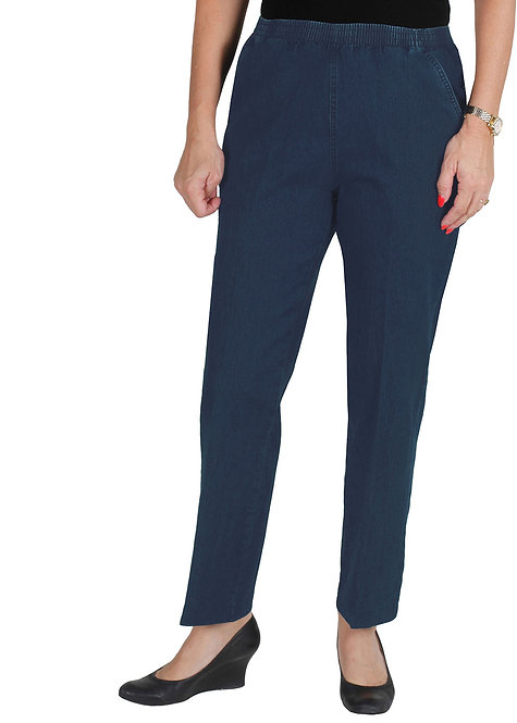 7/8th Length Pull On Stretch Cotton Jeans - Style 694