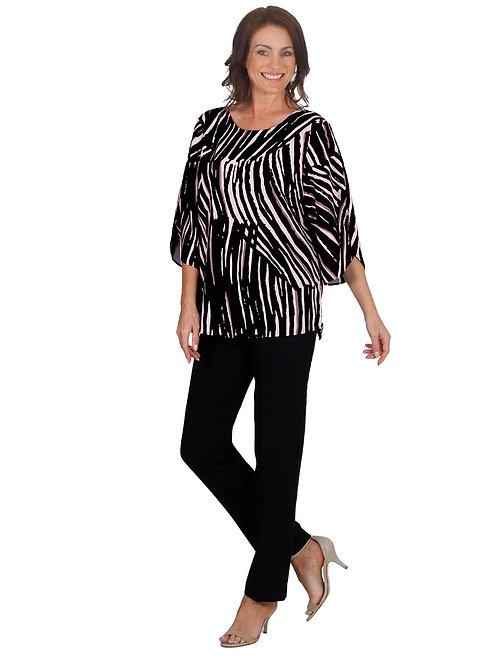 TARONGA Mid Sleeved Stripe Print Top - Style 5559