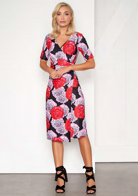 Wrap Style Rose Print Dress - Style V546