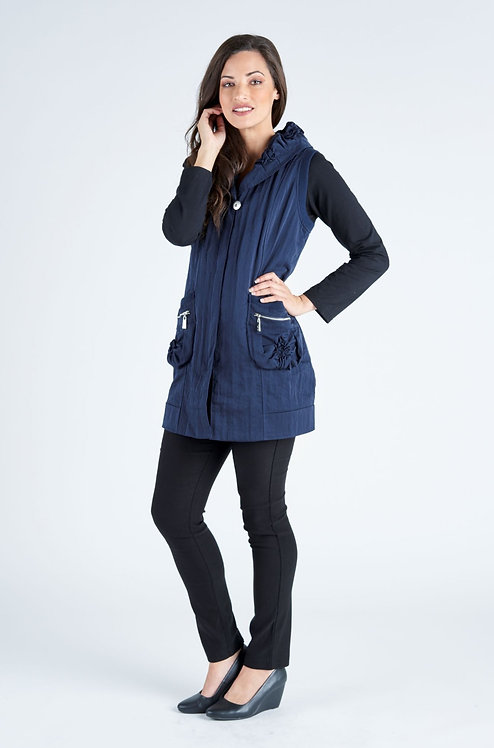 Sleeveless Zip Front Button Vest - Style V1531A