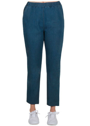 7/8 Length Pull On Stretch Cotton Jeans - Style 694