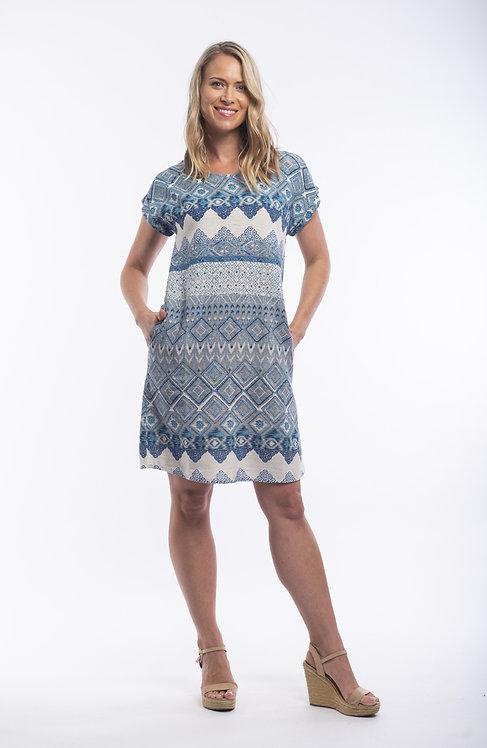 LEON Short Sleeve Boat Neck Dress - Style 71267