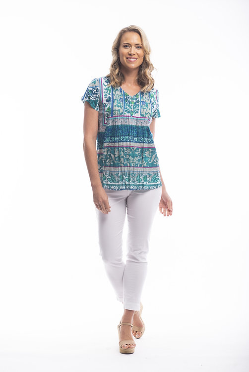 IBIZA Short Sleeve Print Top - Style 62439