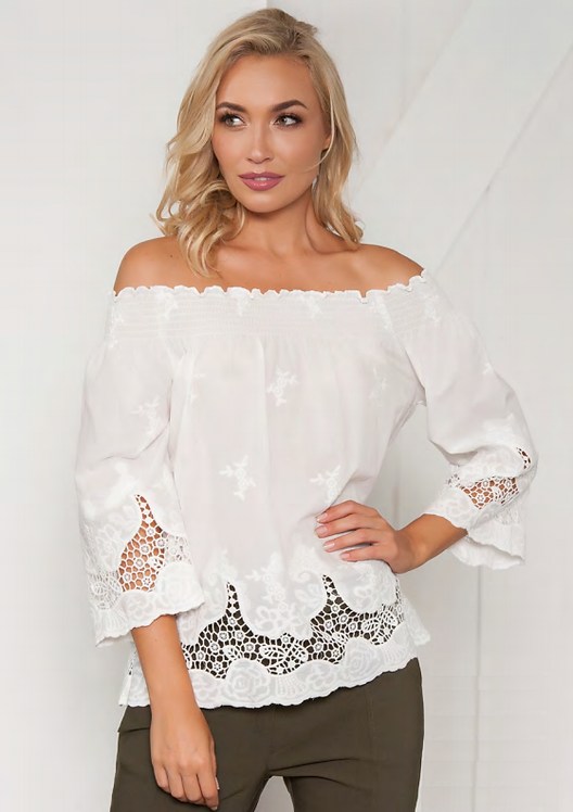 Broderie Anglaise Off The Shoulder Top - Style V516