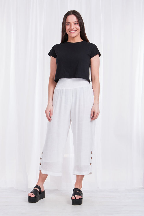 7/8th Length Side Button Pants - Style P506147