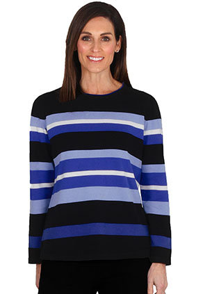 Cotton Stripe Long Sleeve Knit Top - Style 2037